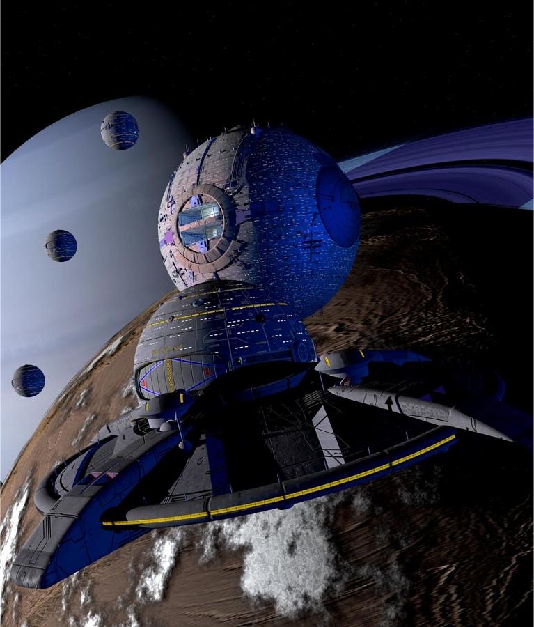 Eine terranische Spacejet gefolgt von Kugelraumern in der Milchstraße. (C) Heiko Popp