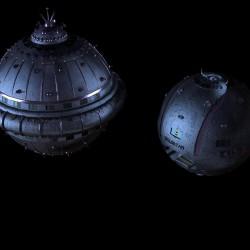 Die IVANHOE und GOLDSTAR bei ihrer Expedition in die Galaxis M 100 Dorgon. © Gerd Schenk