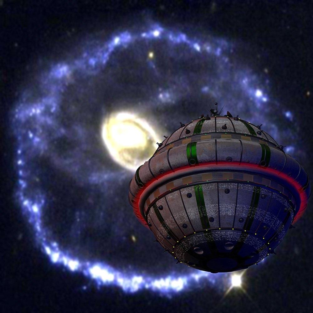 Ein terranischer Kugelraumer im 14. Jahrhundert NGZ befindet sich vor der Galaxis Cartwheel. (C) Heiko Popp