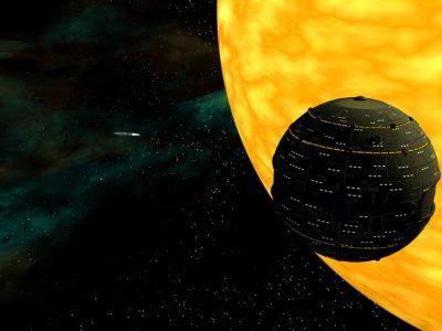 Ein LFT Raumschiff TYP PIRANHA feuert einen Raumtorpedo ab. (C) Heiko Popp