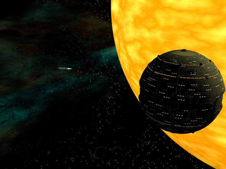 Ein LFT-Raumschiff TYP PIRANHA feuert einen Raumtorpedo ab. (C) Heiko Popp