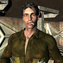 Joak Cascal, Veteran des Solaren Imperiums recht lässig mit Kippe im Mund (C) Gaby Hylla