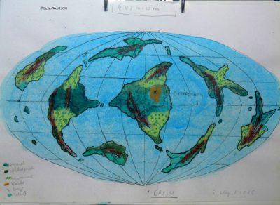 Landkarte des Planeten Cermium, Hauptwelt im Protektorat Harrisch in der Galaxis M 100 Dorgon. (C) 2016 Stefan Wepil