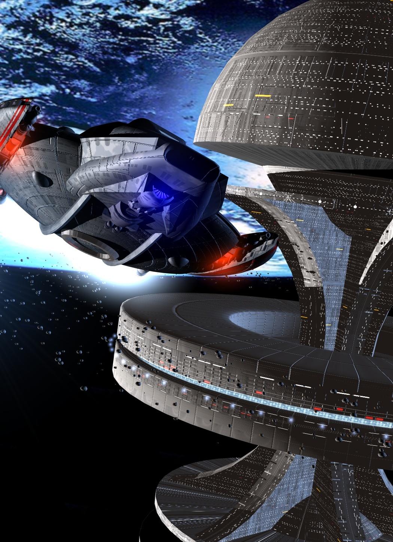 Eine Space-Jet fliegt an einer Raumstation vorbei (C) Raimund Peter