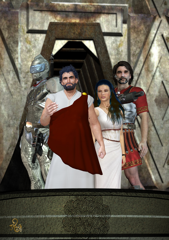 Kaiser Nersonos mit seiner Frau wider Willen Arimad, dem Chef der Prettosgarde Digalinus und dem silbernen Ritter Cauthon Despair. (C) Gaby Hylla