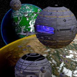 Kugelraumer und Space-Jets der Liga Freier Terraner (C) Heiko Popp