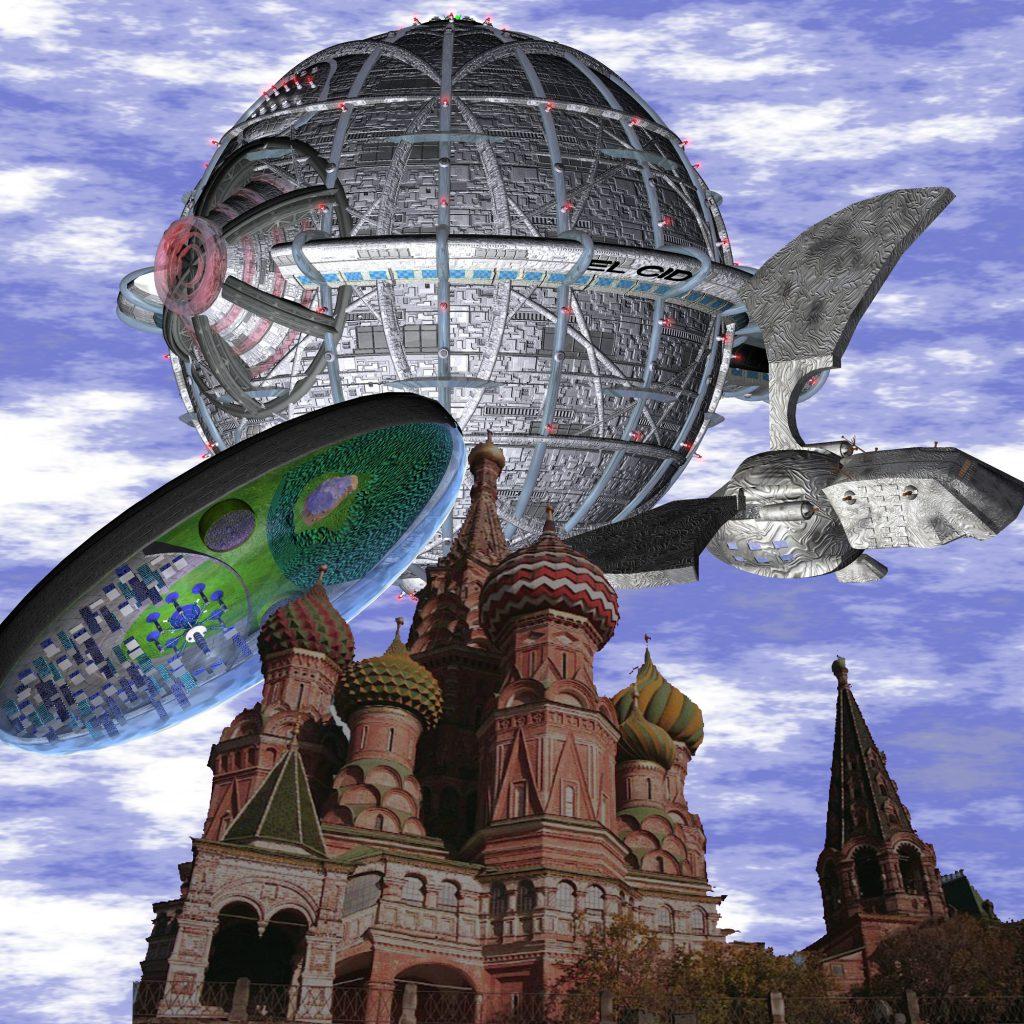 Die EL CID des Quarteriums, die THEK'LEKTRAN des Kristallimperiums und das dorgonische Adlerraumschiff DOMOLUS über Moskau (C) Jan Kauth