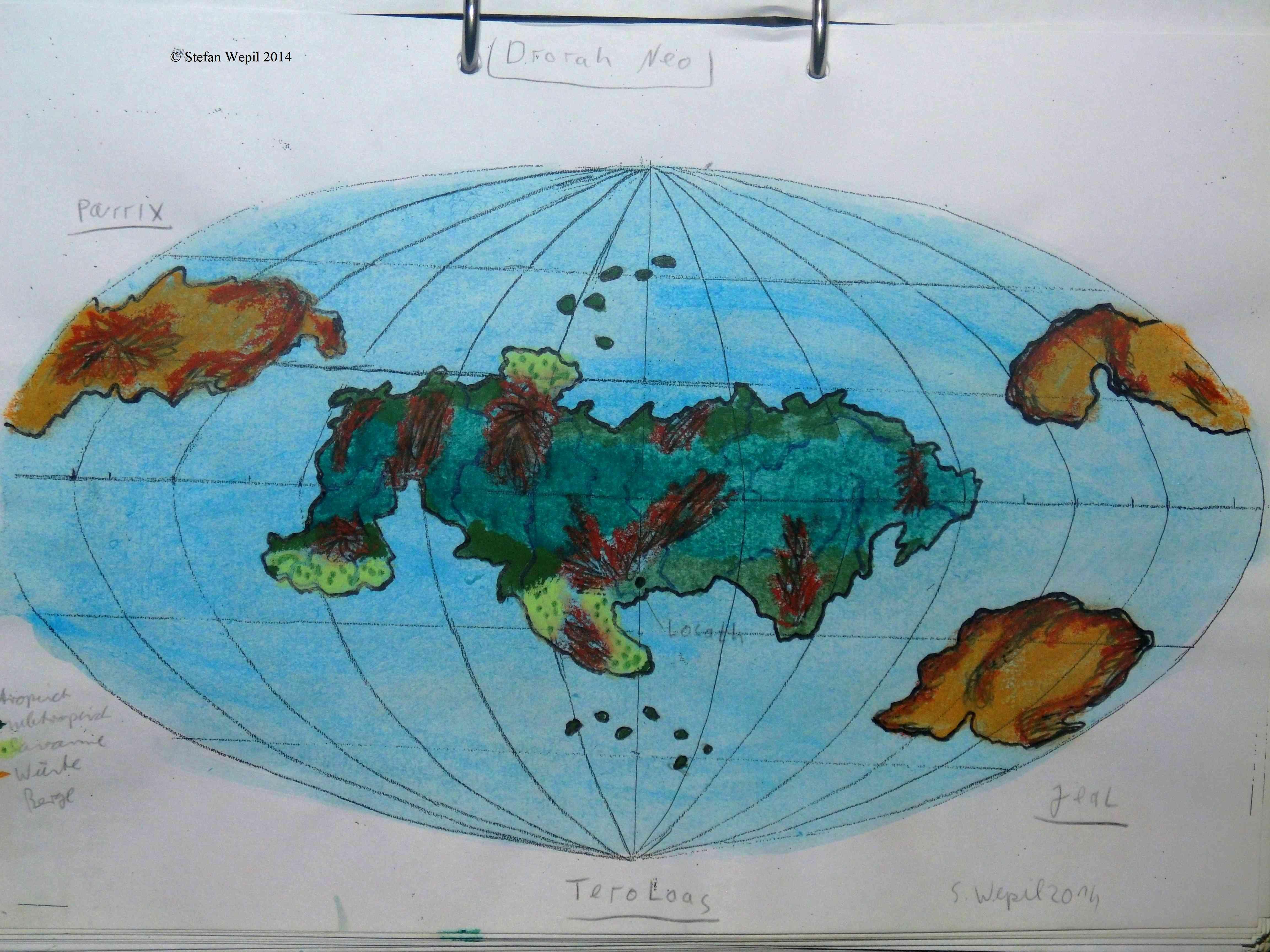 Landkarte des Planeten Drorah Neo, Sitz der akonischen Republik in der Galaxis Cartwheel. (C) 2016 Stefan Wepil