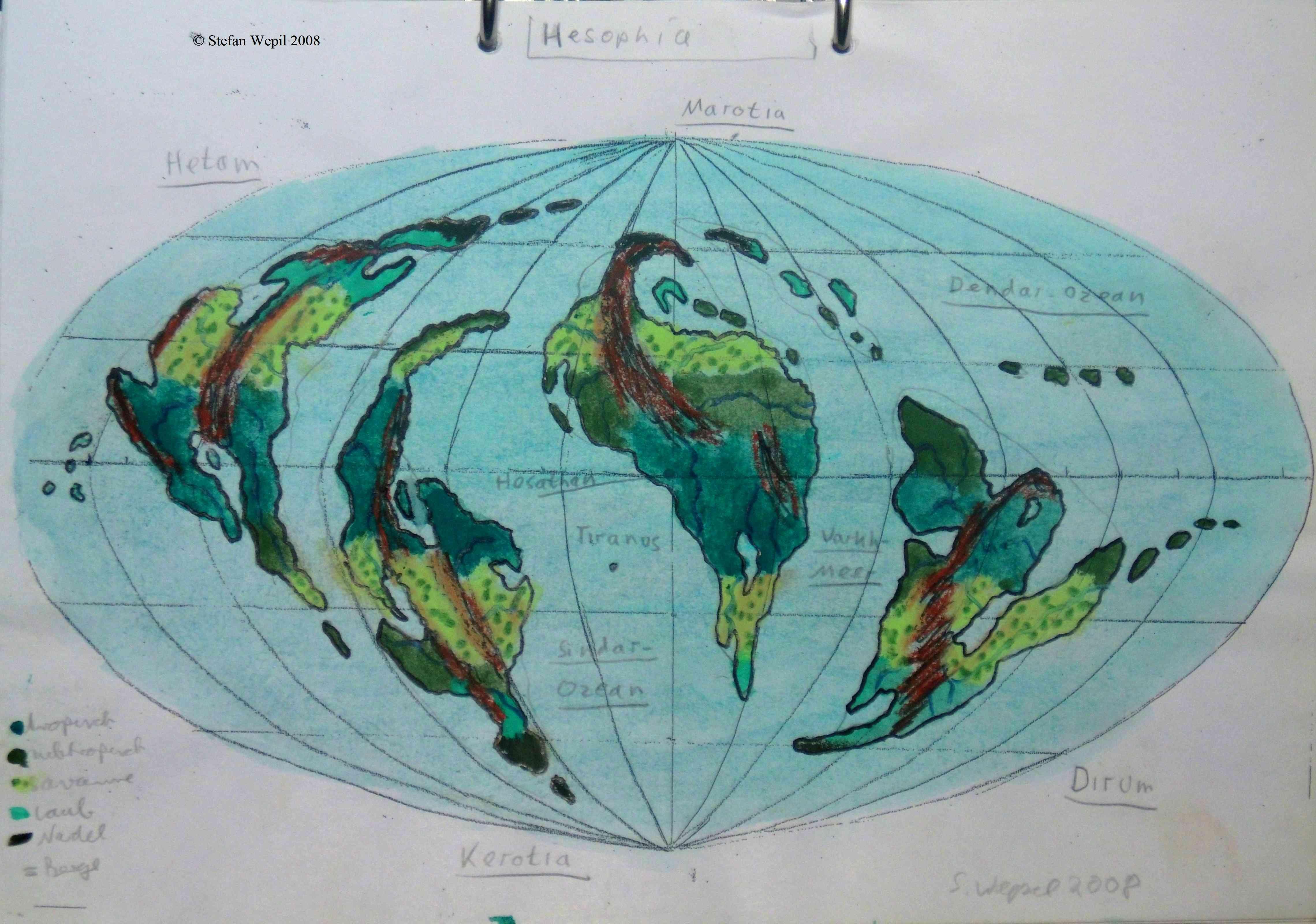 Landkarte des Planeten Hesophia, einer zentralen Welt des dorgonischen Kaiserreiches in der Galaxis M 100 Dorgon. (C) Stefan Wepil