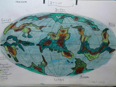 Landkarte des Planeten Jerrat in der Galaxis M 100 Dorgon. (C) 2016 Stefan Wepil