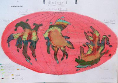 Landkarte des Planeten Katron in der Galaxis Shagor.