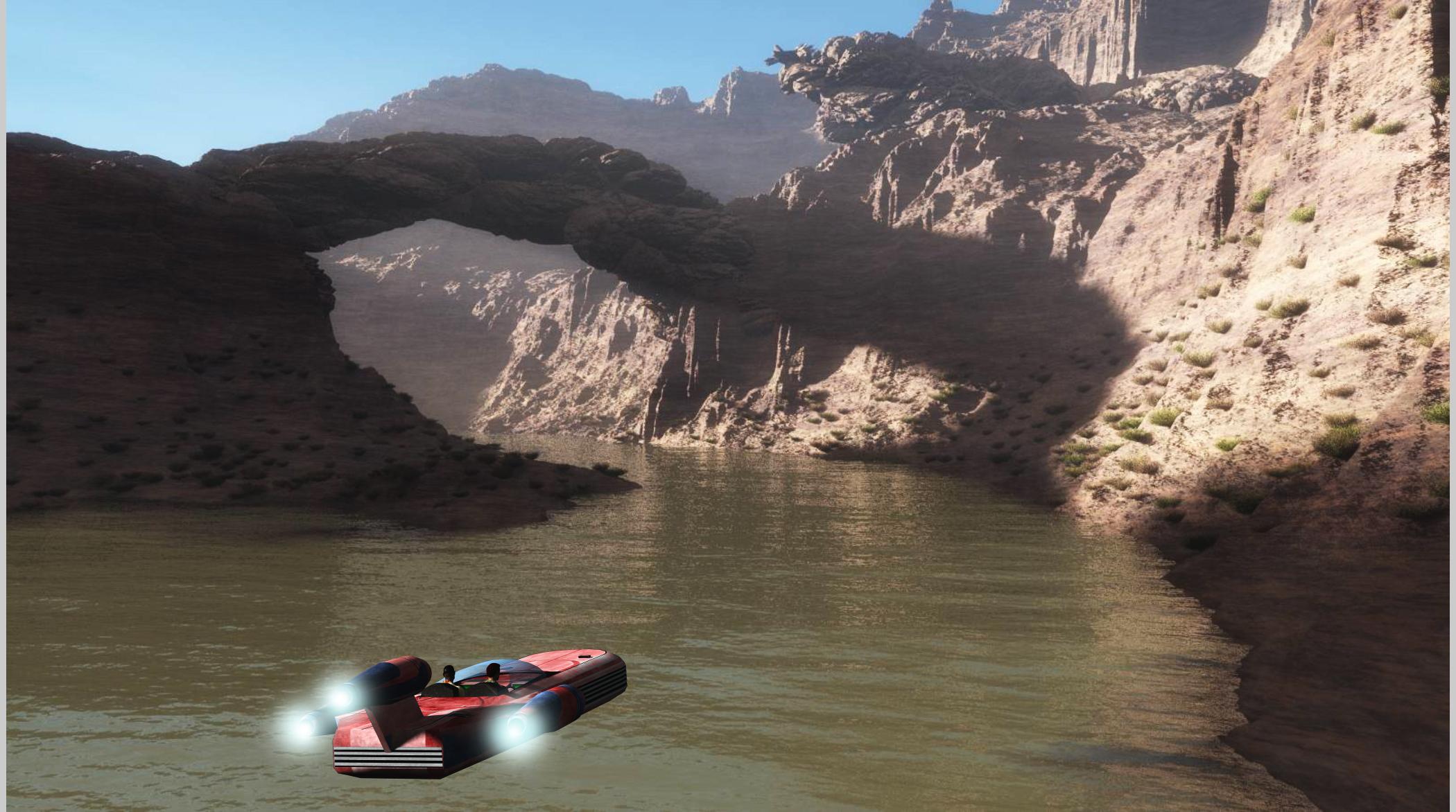 Flugtour durch Mashratan - offenbar mit einem Gleiter von der Welt Tatooine. (C) Roland Wolf