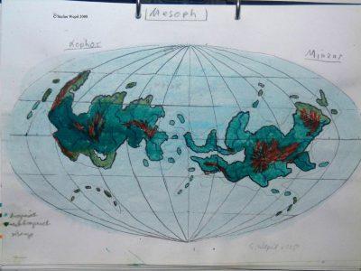 Landkarte des Planeten Mesoph in der Galaxis M 100 Dorgon. (C) 2016 Stefan Wepil