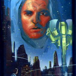 Der Sohn des Chaos Cau Thon über der Skyline von Terrania City. Zeichnung vom ehemaligen Perry Rhodan Zeichner Ralph Voltz