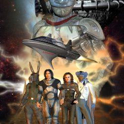 Cover zur SOL-Ausgabe Nummer 79 Ein Supremo-Raumschiff, die LONDON in groß der Silberne Ritter Cauthon Despair, darunter Aurec, Kathy Scolar, Sam und Jaktar (C) Gaby Hylla