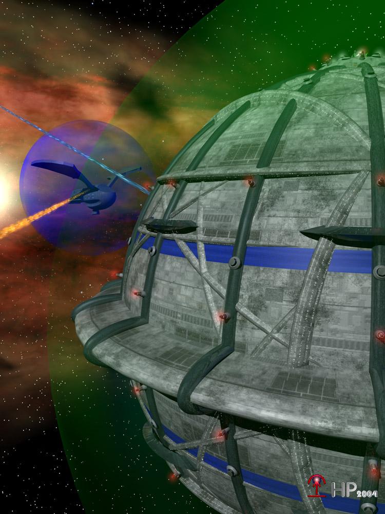 Gefecht zwischen der IVANHOE II und einem Adlerraumschiff (C) Heiko Popp