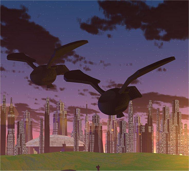 Dorgonische Adlerraumschiffe nähern sich einer Stadt (C) Heiko Popp