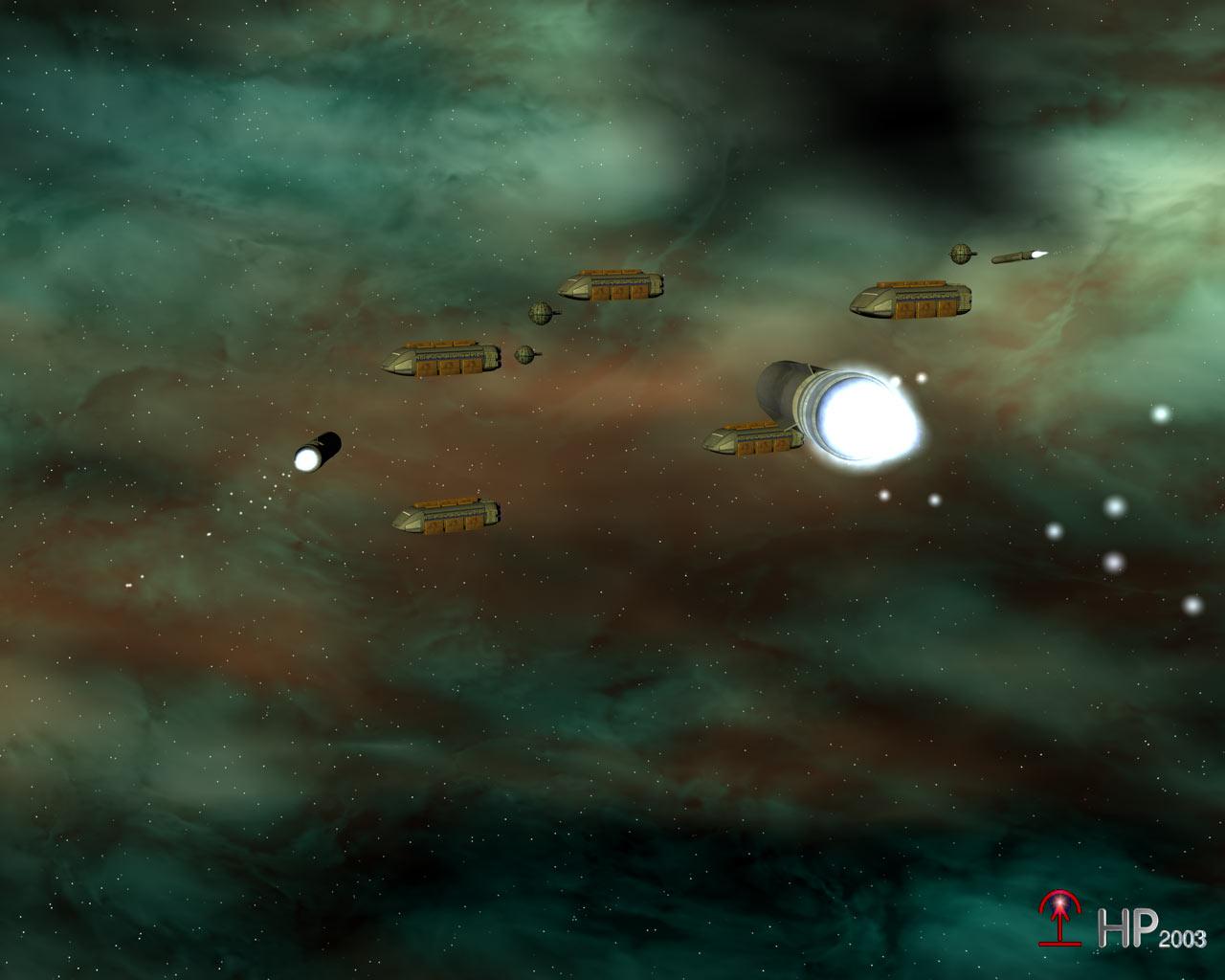 Torpedos im Weltall. Die tödlichen Raketen steuern auf einen Konvoi zu. (C) Heiko Popp