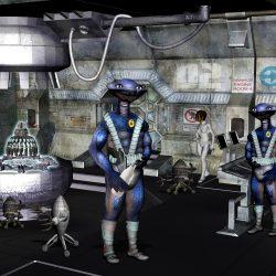 Der Milchtrinker Zyrak Wygal im Maschinenraum der IVANHOE. Der Blues ist der LI auf der IVANHOE (C) John Buurman