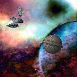 Ein Adlerraumschiff und ein Kugelraumer (C) Lothar Bauer