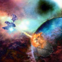 Ein Adlerraumschiff feuert auf einen Kugelraumer (C) Lothar Bauer