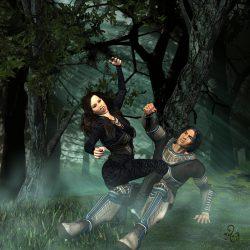 Aurec muss gegen seine geliebte Kathy Scolar kämpfen, die vom Virus der Ylors infiziert ist. (C) Gaby Hylla