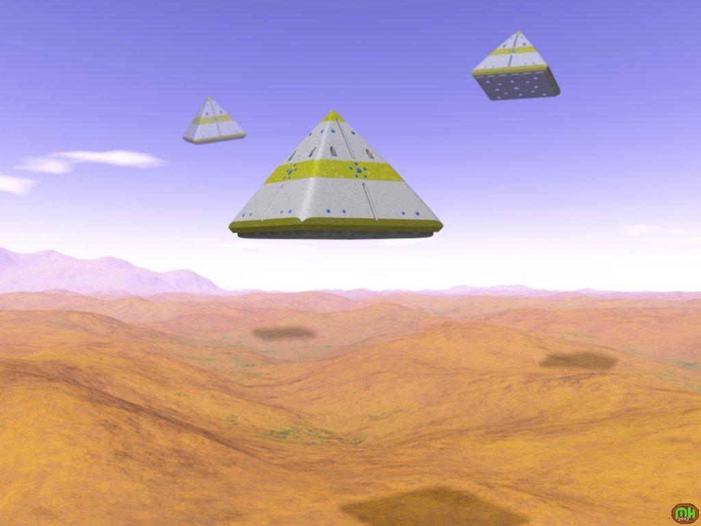 Pyramidenraumschiff der Kemeten über einer Wüste (C) Mark Hoffmann