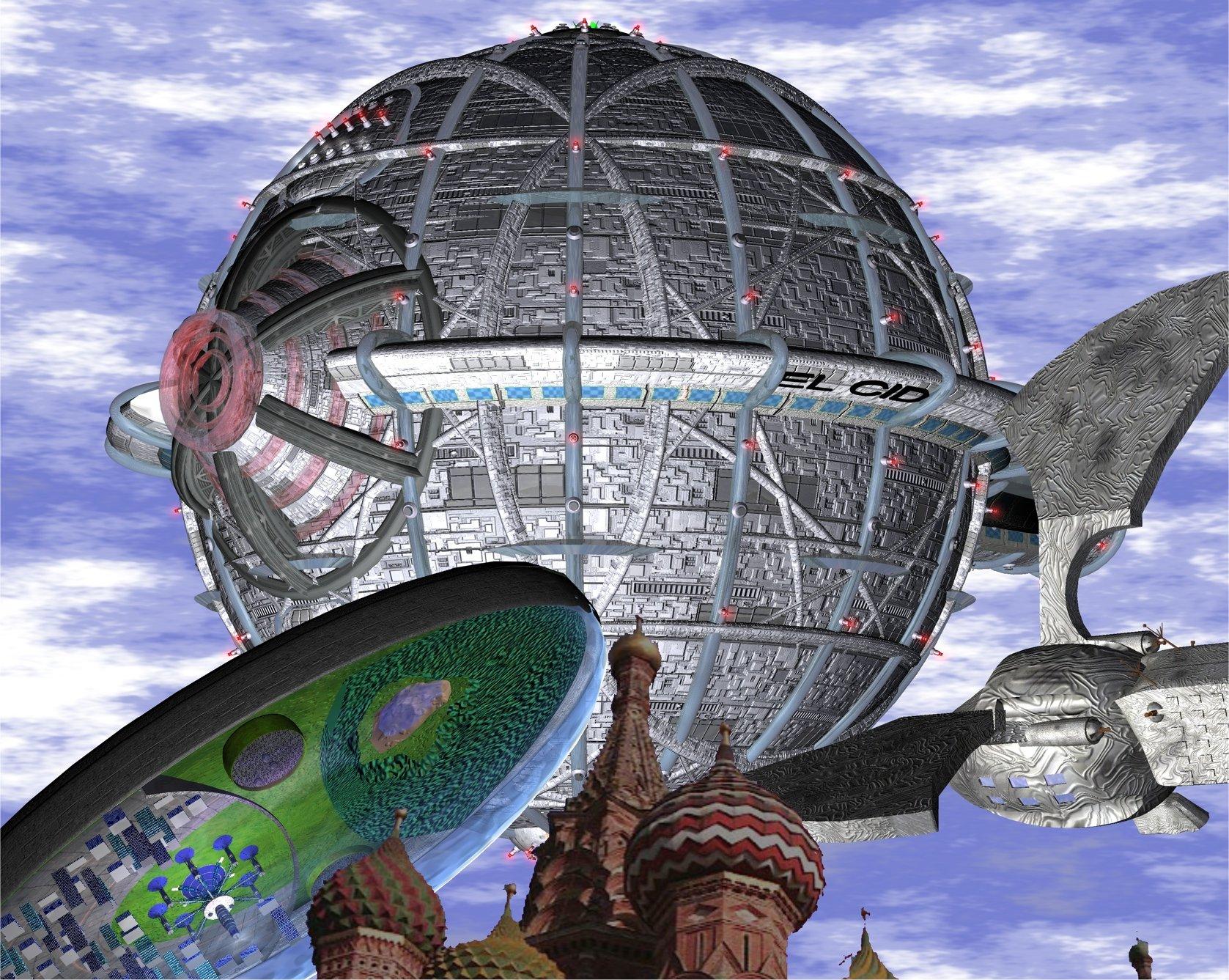 Die EL CID des Quarteriums, die DOMULUS des dorgonischen Imperiums und die THEK'LAKTRAN des Kristallimperiums über dem Himmel von Moskau (C) Jan Kurth