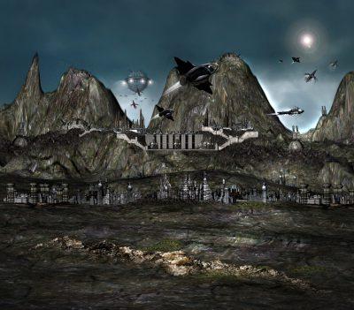 Die Stadt Cermium in den Bergen des Planeten Cermos (C) John Buurman