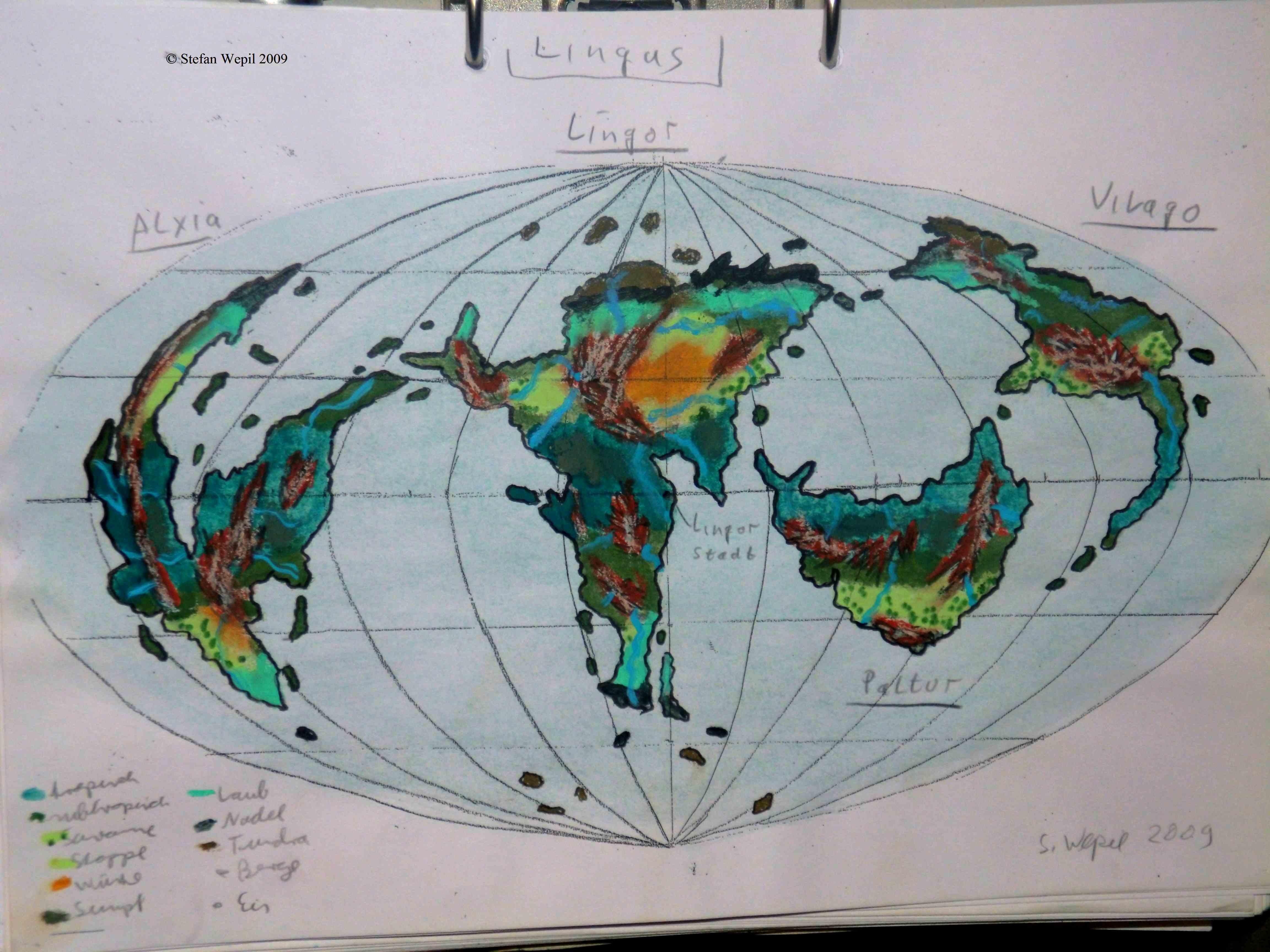 Landkarte des Planeten Lingus in Cartwheel (C) Stefan Wepil