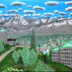 Der Stadteil Montia, umgegeben von dem Berg Dovit in der Stadt Dom auf dem Planeten Dorgon. (C) Stefan Wepil