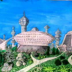 Gebäude vom Stadtteil Novai in der Stadt Dom auf dem Planeten Dorgon (C) Stefan Wepil