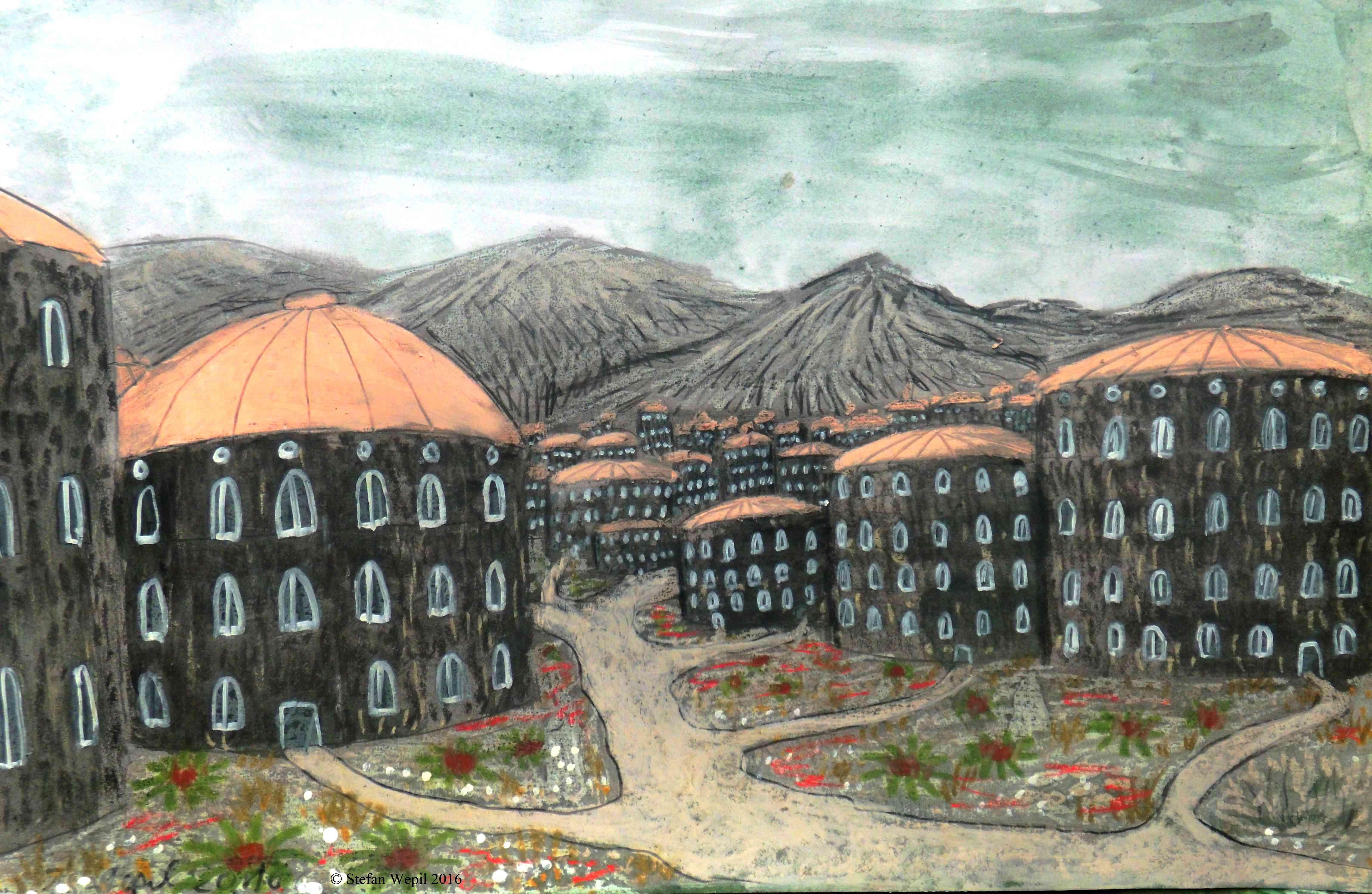 Die Stadt Geodos auf dem Kontinenten Ragon auf dem Planeten Dorgon. (C) Stefan Wepil