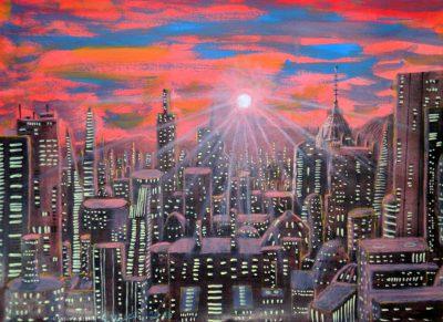 Skyline von Lehr'Moch, Hauptstadt der Welt Lehr'Ar'Modror in Barym (C) Stefan Wepil